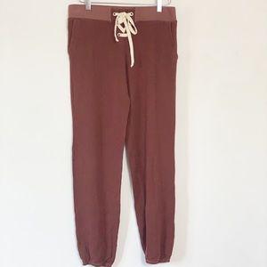 Monrow supersoft vintage rust tie waist sweatpants